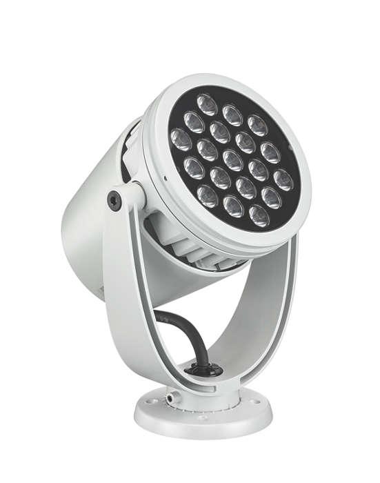 LED-spotbelysning av arkitektur med intelligent hvitt og farget lys