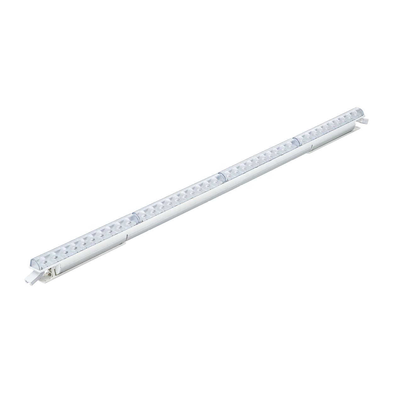 Luminaria asimétrica con ángulo de ataque de luz blanca sólida lineal interior