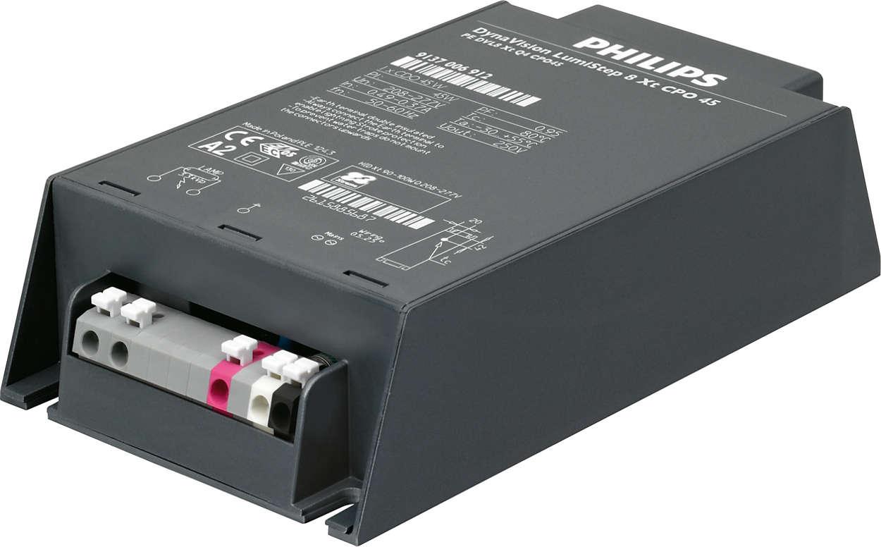 HID-DynaVision LumiStep Xtreme per CPO - Regolazione del flusso one-step integrata per facile risparmio energetico.