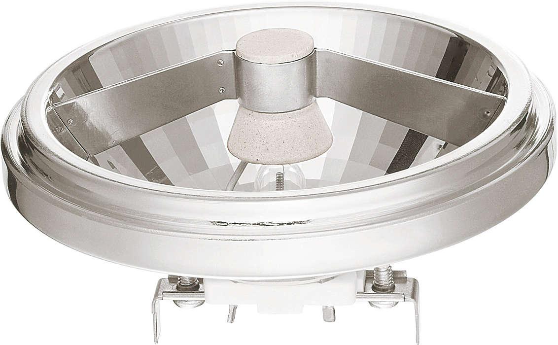 Spot med klart, hvidt lys fra stilfuld aluminiumsreflektor