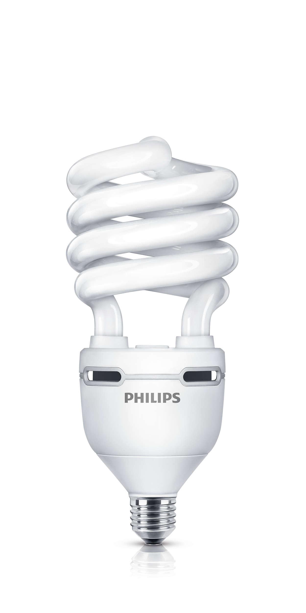 Lampada a risparmio energetico a spirale che combina performance, design ed elevata emissione di lumen