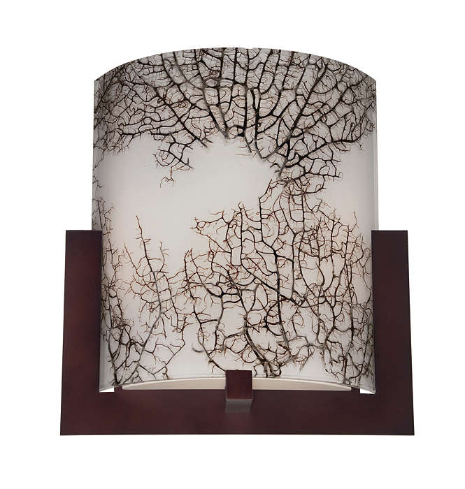 Bow acrylic shade with inlaid coral
