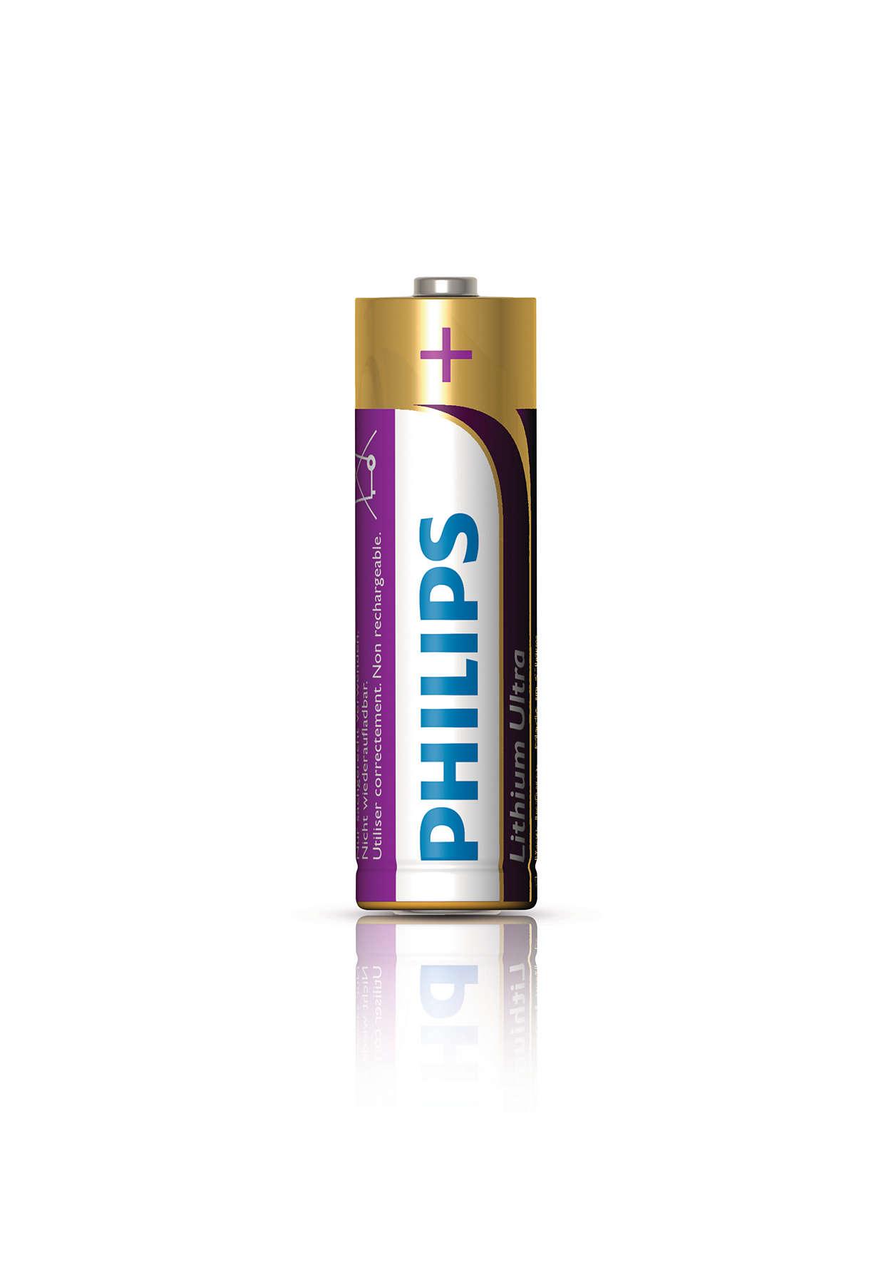Durata 7 volte maggiore rispetto alle batterie alcaline