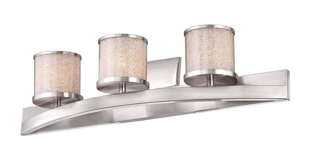 Tiffany 3-light bath fixture, Satin Nickel finish