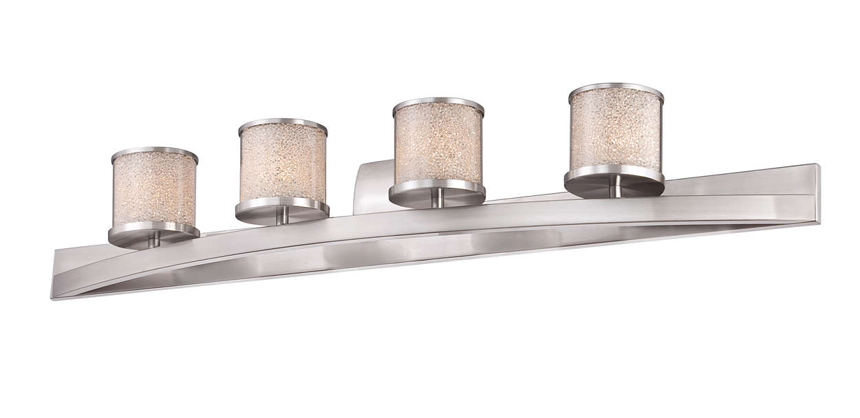 Tiffany 4-light bath fixture, Satin Nickel finish