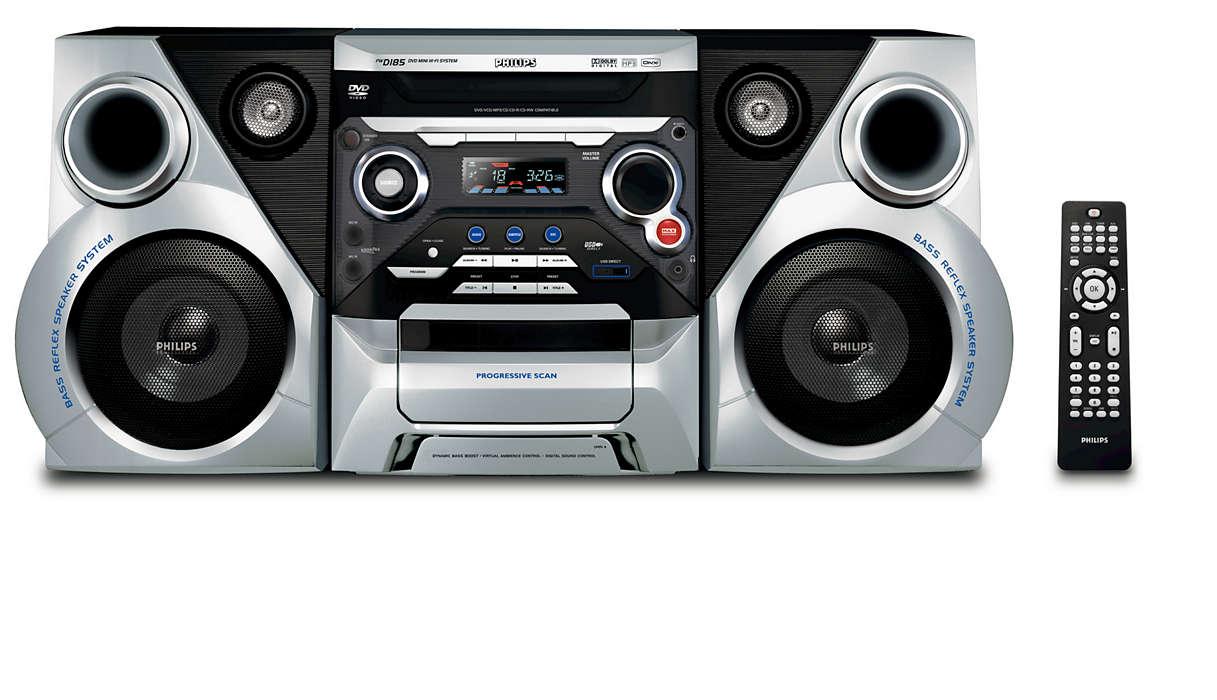 เพลิดเพลินกับ DVD และ MP3-CD ที่กระหึ่มด้วยพลังเสียงไดนามิคเบส