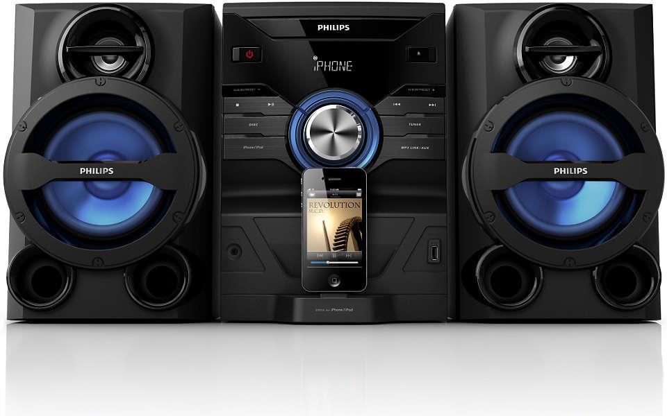 Ciesz się potężnym brzmieniem muzyki z urządzenia iPod/iPhone