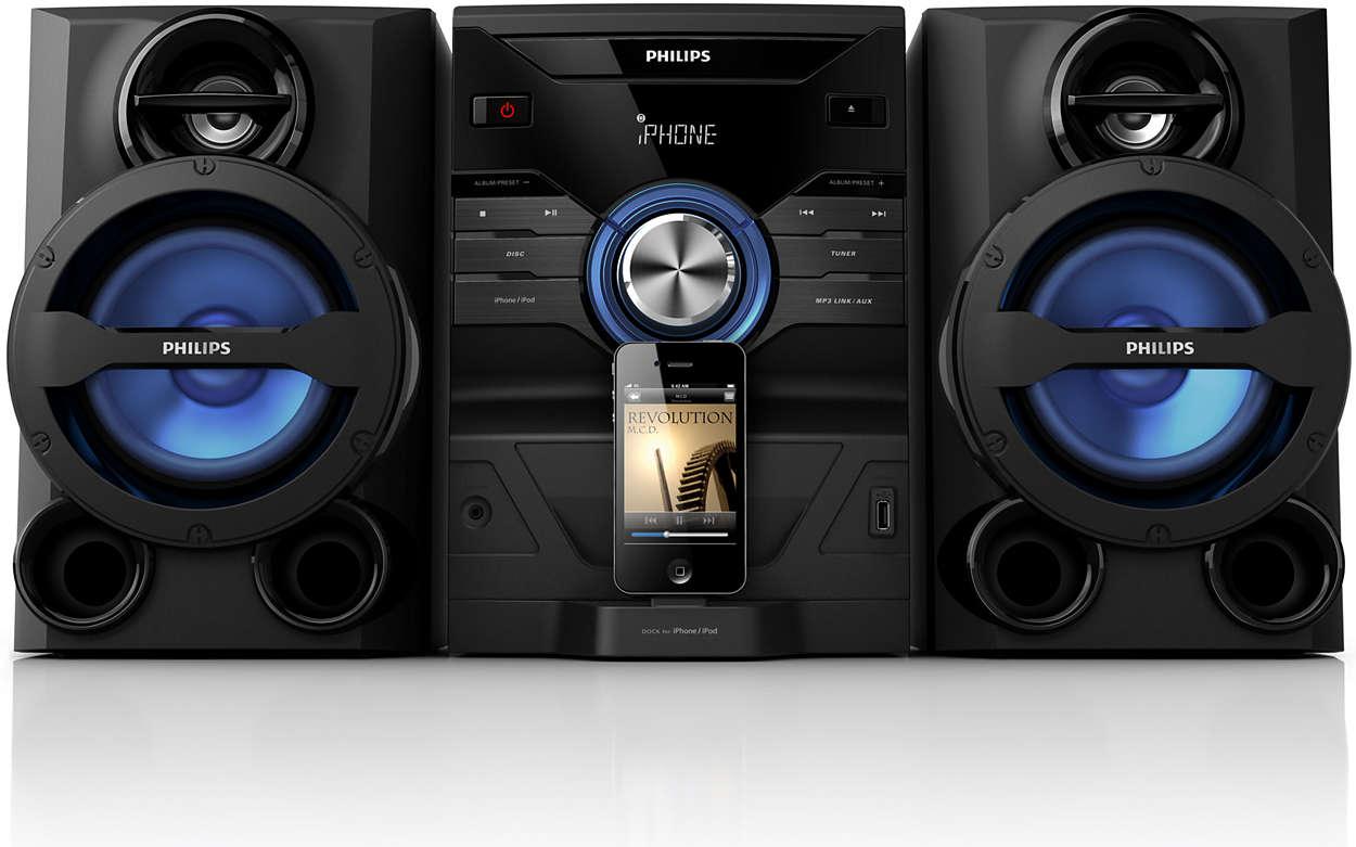 Få musik med kraftfullt ljud från din iPod-/iPhone