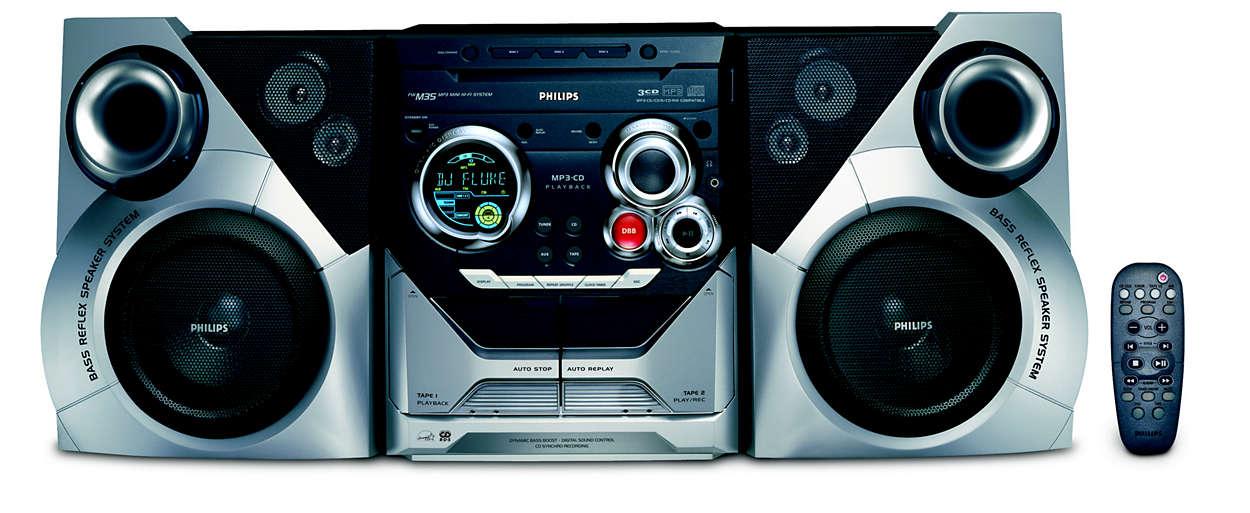 Reprodução de MP3, com experiência de som enriquecedora