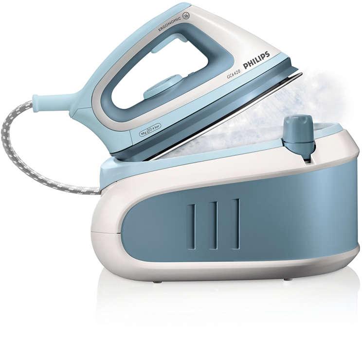 고압력 스팀으로 세탁소에서 다린듯한 효과와 다림질 속도가 두 배로!