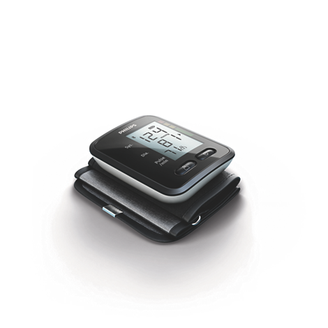 Wrist blood pressure monitor The connected wrist blood pressure monitor measures blood pressure & heart rate