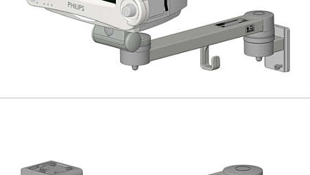 Single support arm on GCX wall channel: Mounting kit