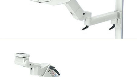 Height adjustable arm with extension on ITD support extrusion
