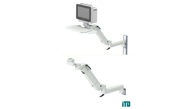 Height adjustable arm with extension on GCX wall channel