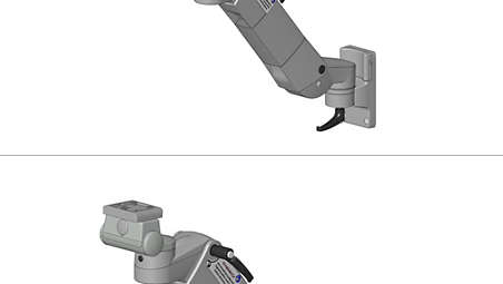 Height, adjustable arm on ITD support extrusion