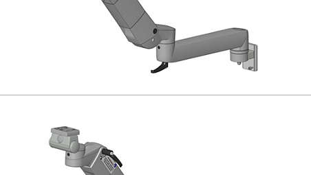Height, adjustable arm with extension on GCX wall channel