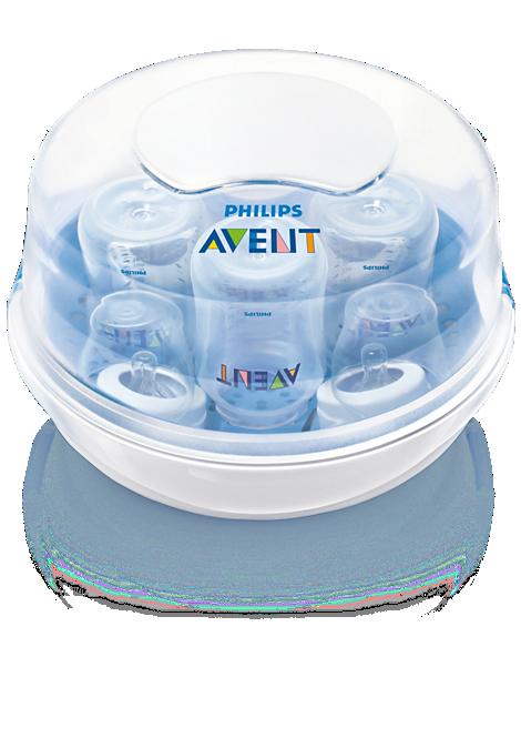 Microwave Steam Steriliser Kills 99.9% of harmful germs, sterilise in 2 min, fits 4 Philips Avent bottles, fits most microwaves