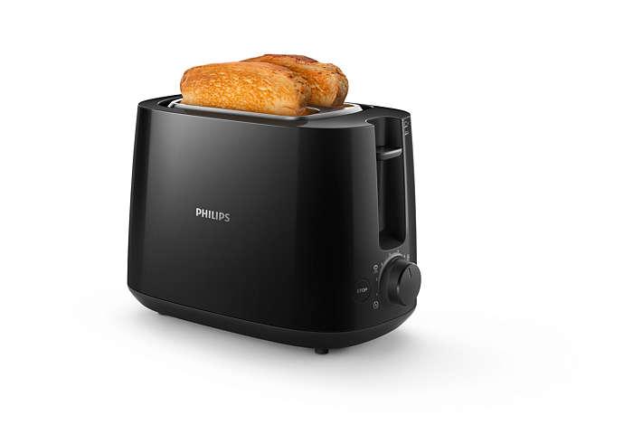 Elke dag knapperig, goudbruin geroosterd brood