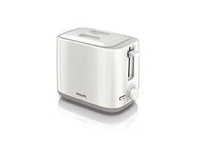 Philips Daily Collection Toaster HD2595 09 2 slot Compact White beige Reheat  lid