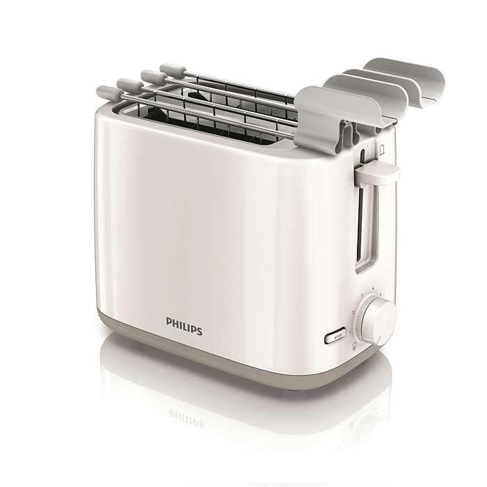 Gleichmäßig gebräunter Toast an jedem Tag