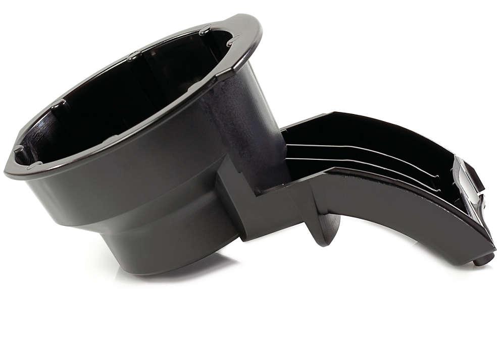 Kanaliserer kaffe fra pudeholderen til koppen