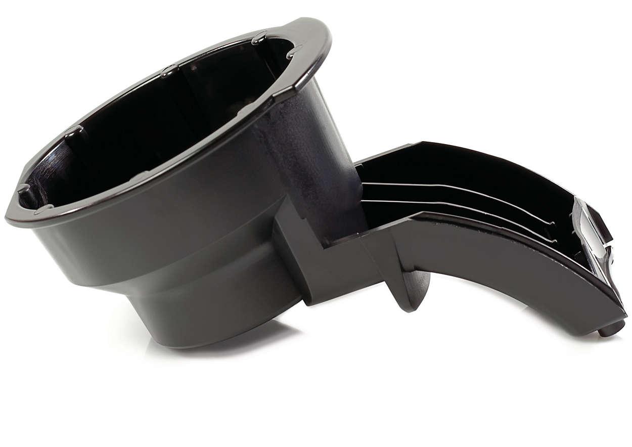 Canaliza el café desde el soporte para dosis hasta la taza