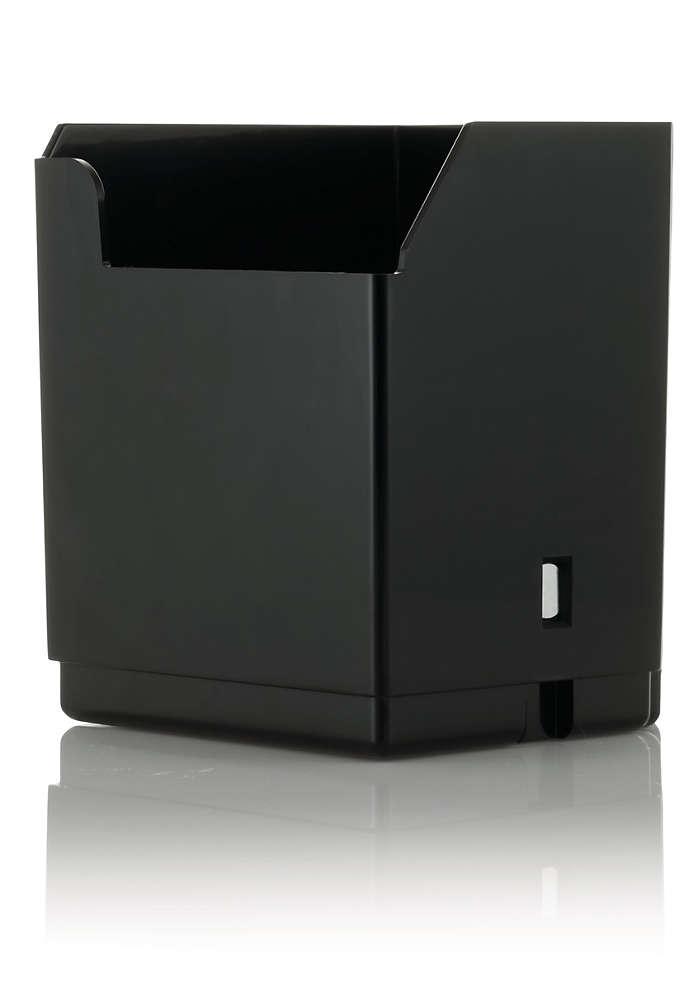 Dump box for ground coffee
