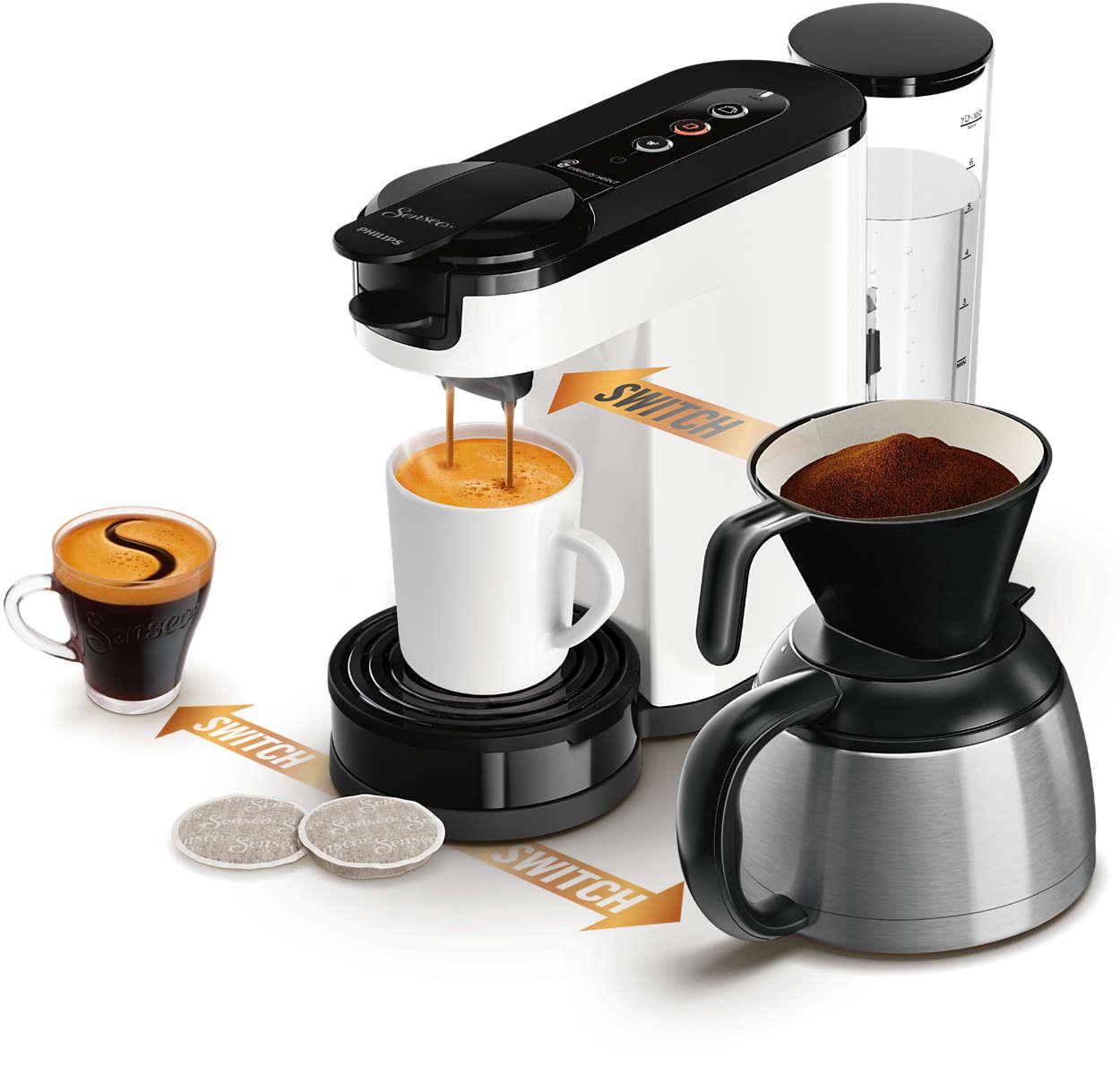 Vvælg mellem en kop, et krus eller en kande til deling