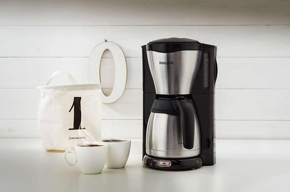 Philips HD7546//20 Gaia Filter-Kaffeemaschine mit Thermo-Kanne in schwarz//metall