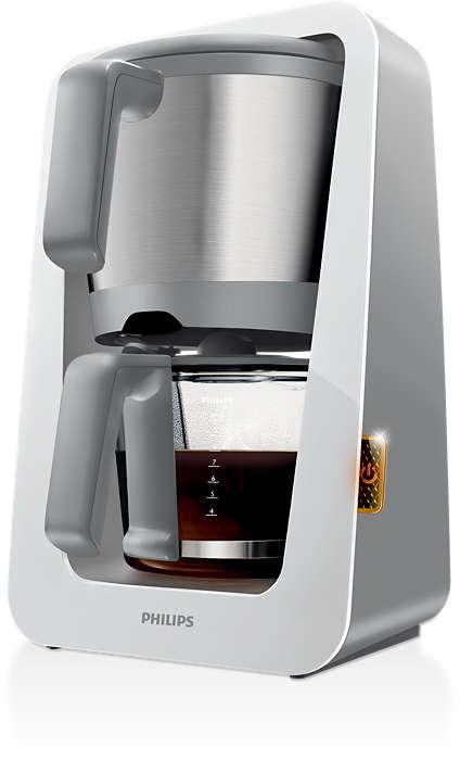 Ainoa kahvinkeitin, jossa on yhdistetty vesi- ja kahvijauhesäiliö