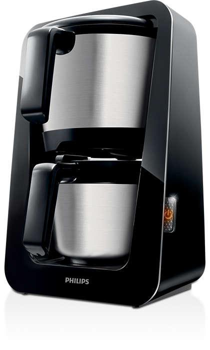 Den eneste kaffemaskine med vand- og kaffetank i én