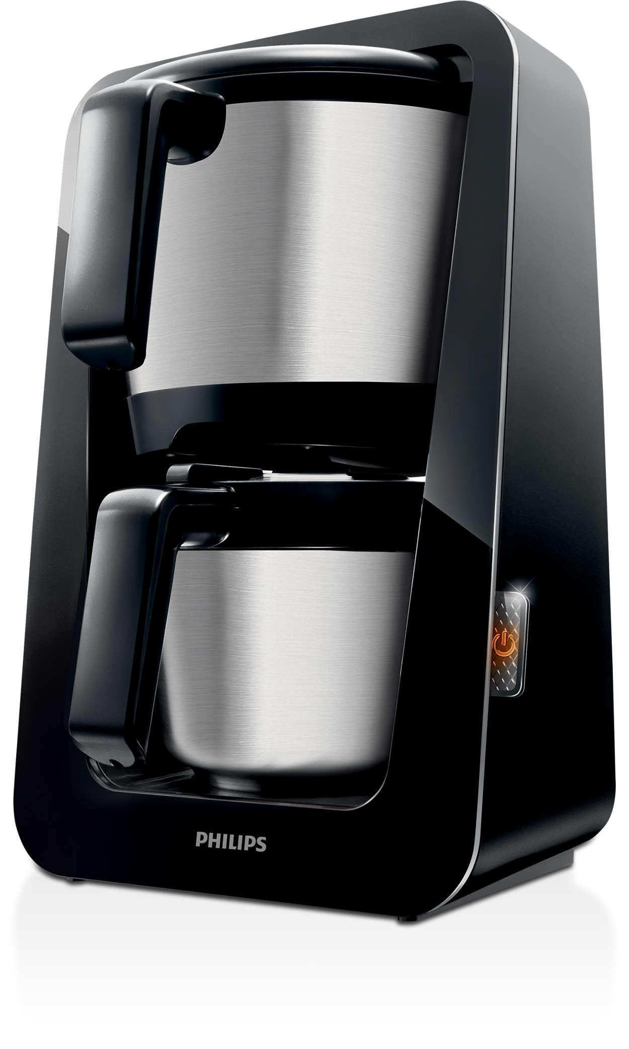Den enda kaffebryggaren med 2-i-1-behållare för vatten och kaffe