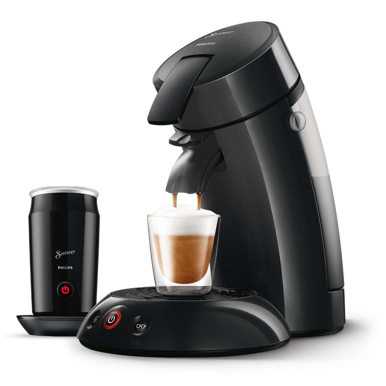 Kaffe af SENSEO®-kvalitet beriget med opskummet mælk