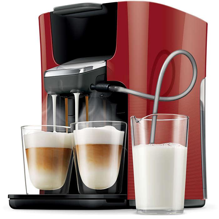 Eindelijk twee cappuccino's tegelijk gezet met verse melk!