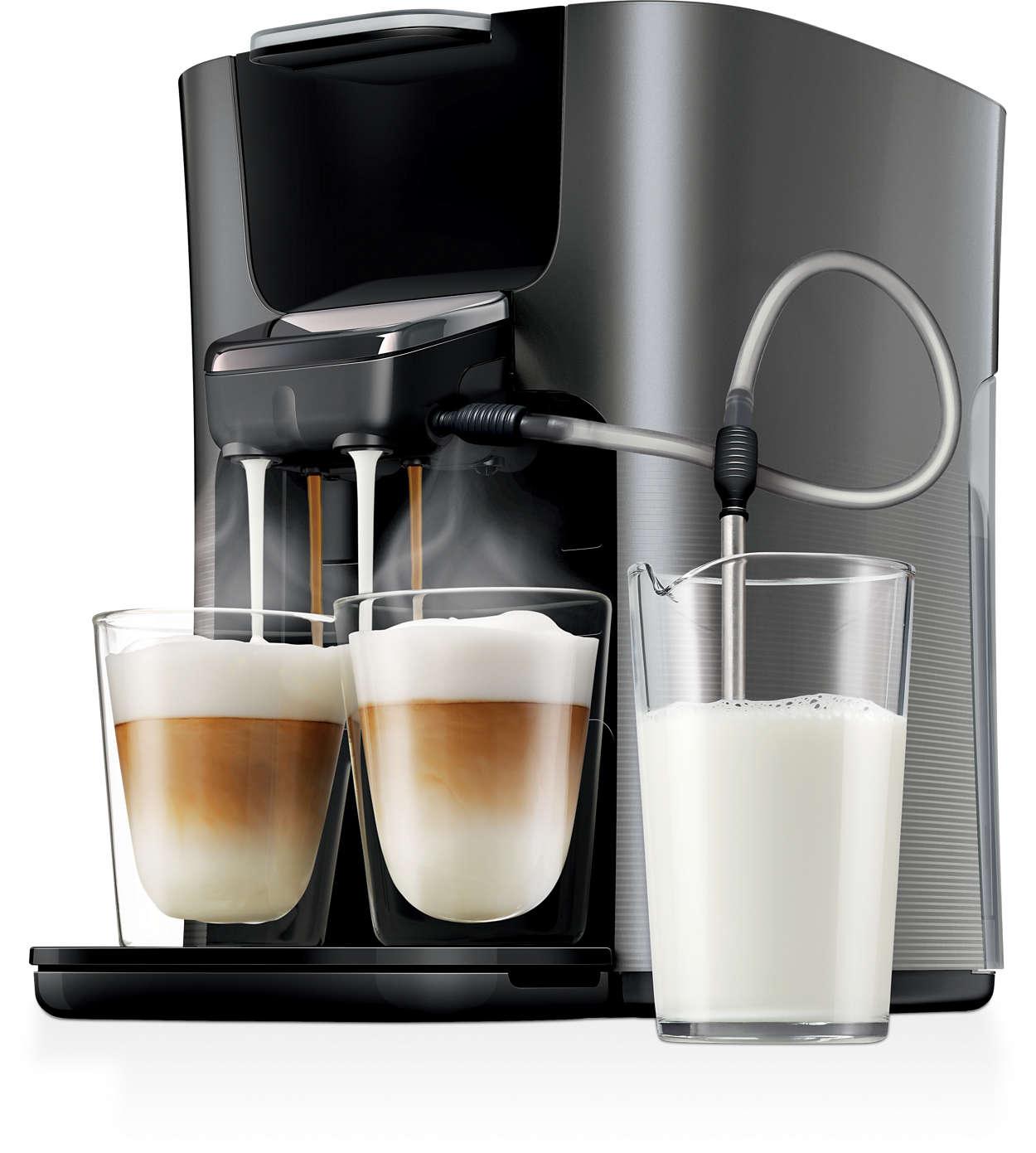 Endelig to kopper cappuccino på én gang lavet med frisk mælk!