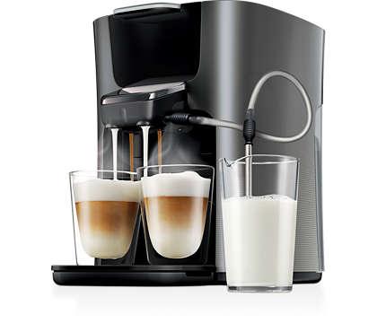Prepara due cappuccini insieme con il latte fresco!