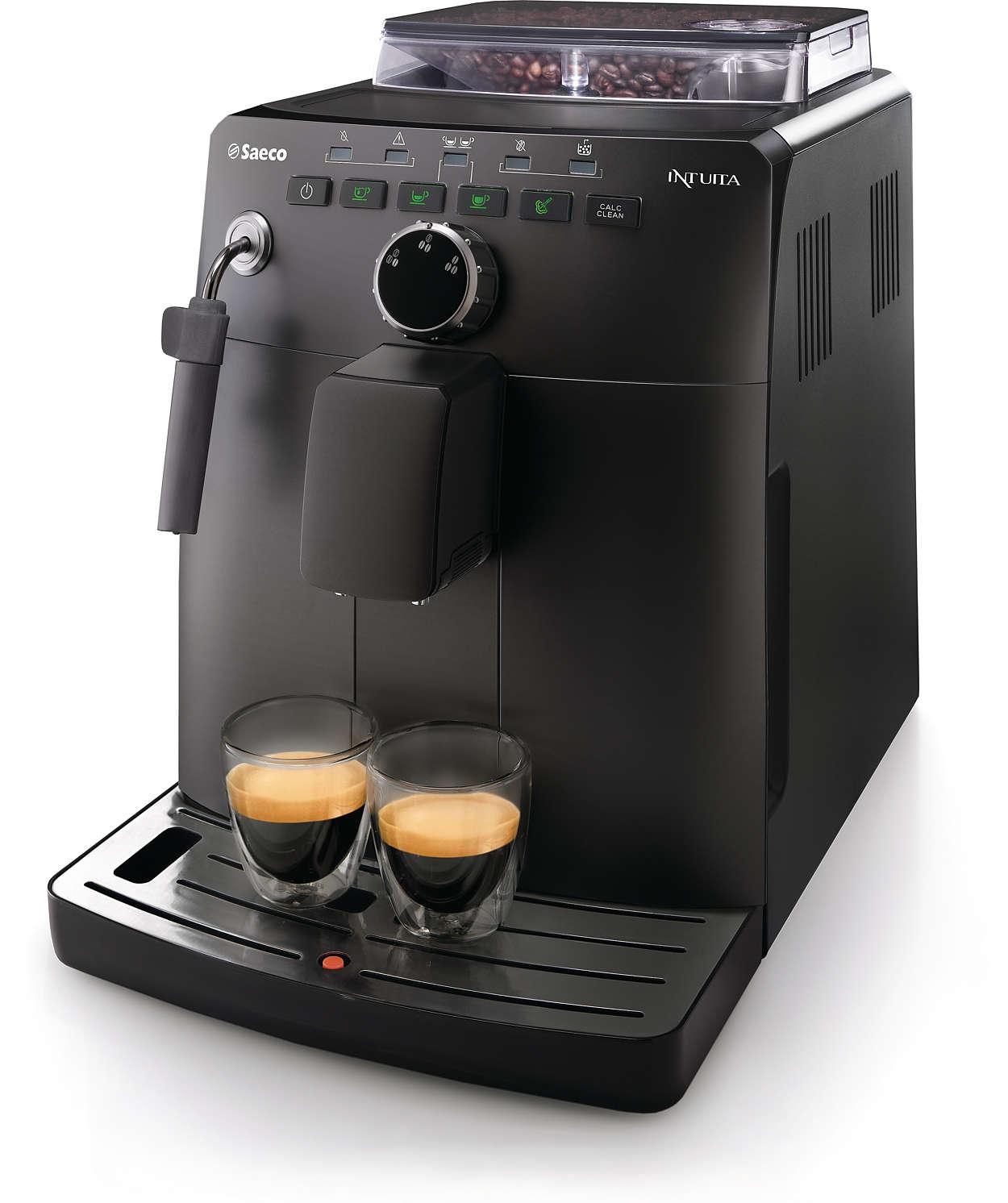 Un espresso à partir de grains de café frais