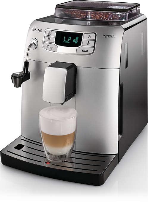 Enknapps-espresso och mjölkskum