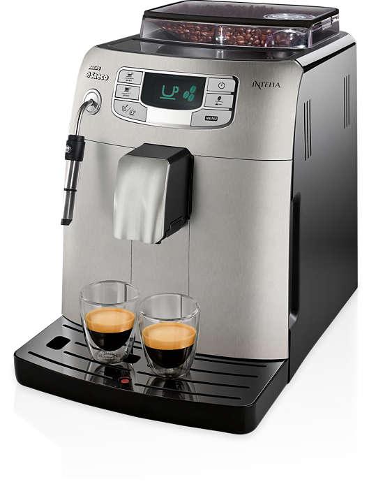 Espresso i mleczna, kremowa pianka za dotknięciem przycisku