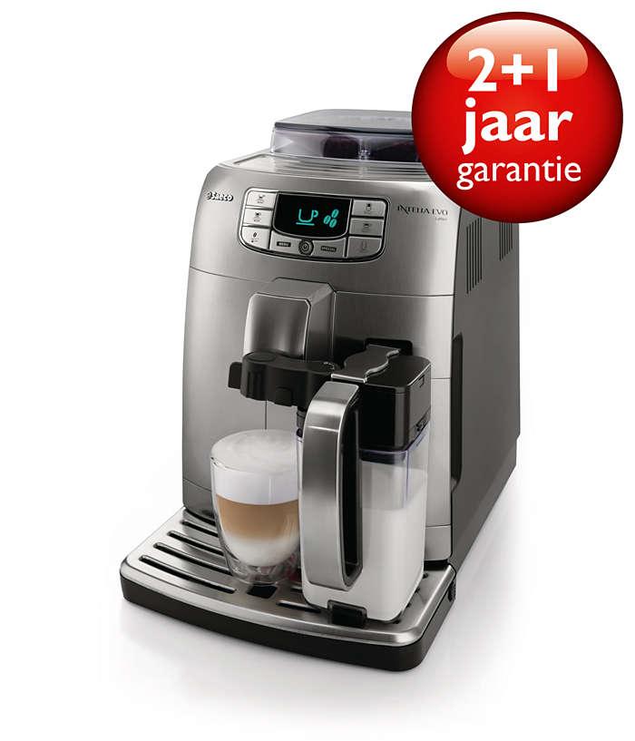 Espresso, cappuccino en latte macchiato met één druk op de knop