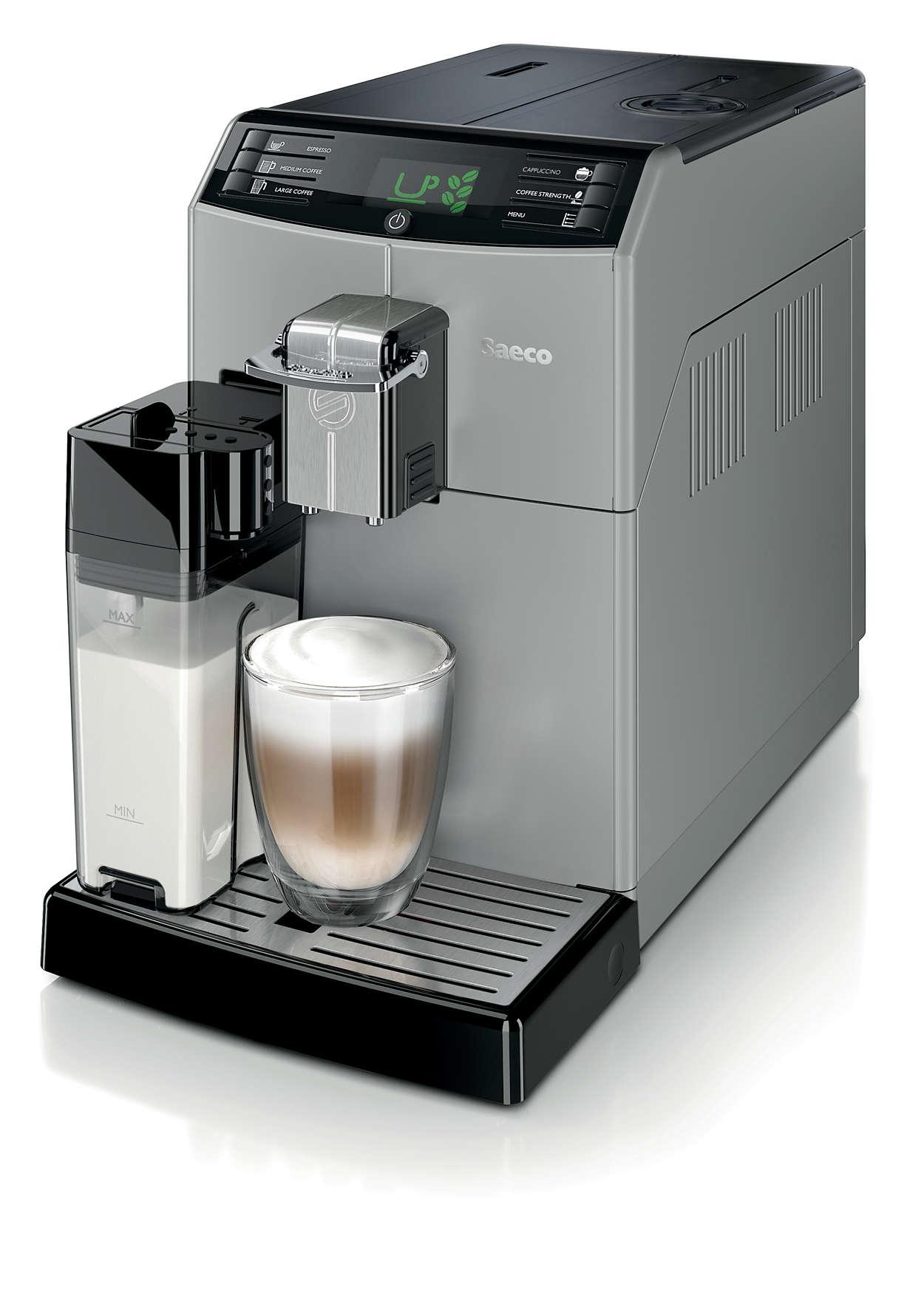 minuto super automatic espresso machine hd8773 47 saeco. Black Bedroom Furniture Sets. Home Design Ideas
