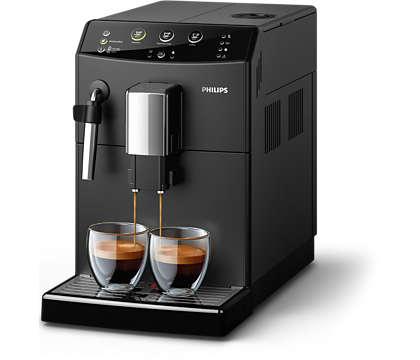 Met één druk op de knop heerlijke koffie van versgemalen bonen