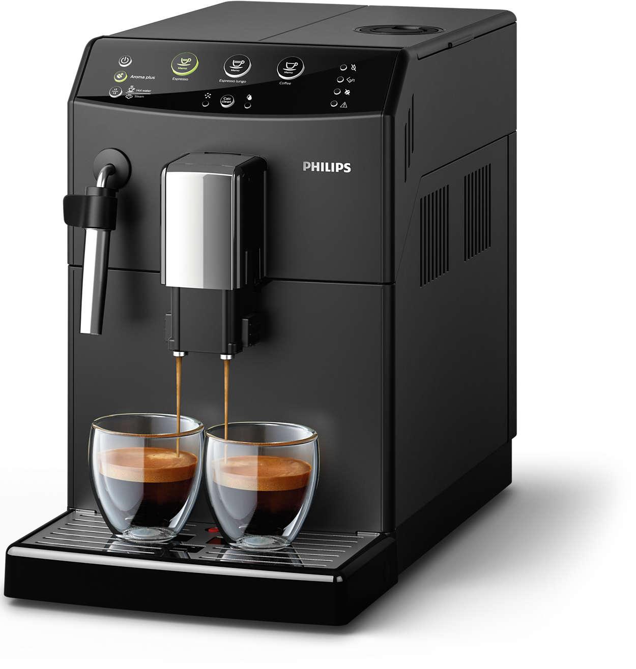 Pyszna kawa ze świeżych ziaren za jednym dotknięciem przycisku