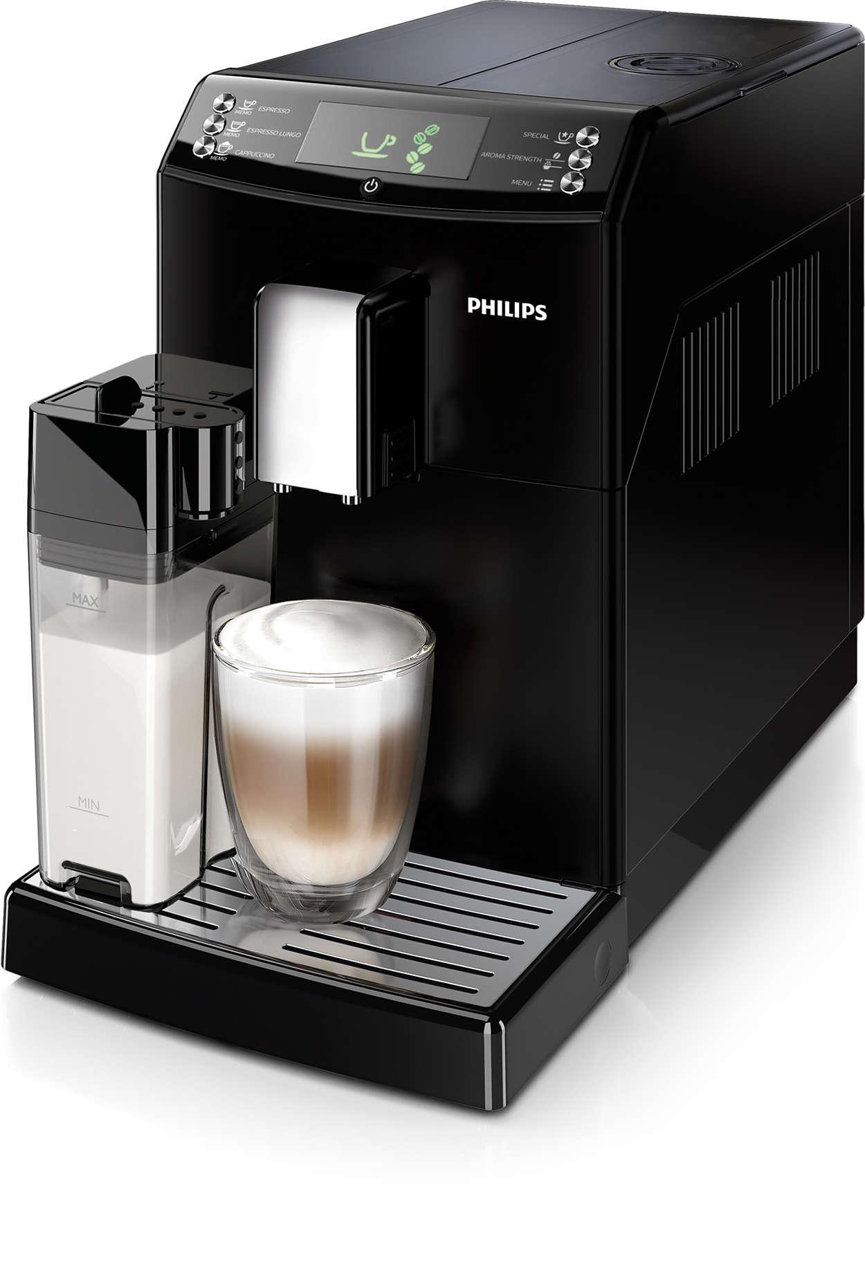 Met één druk op de knop espresso en cappuccino