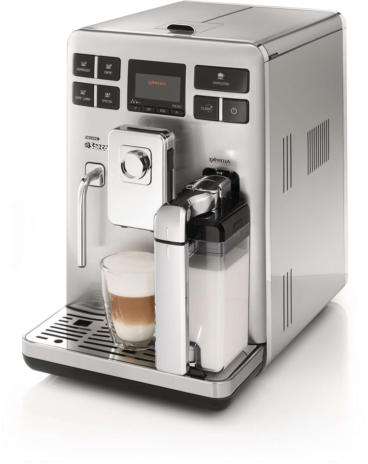 Espresso and cappuccino at a single touch