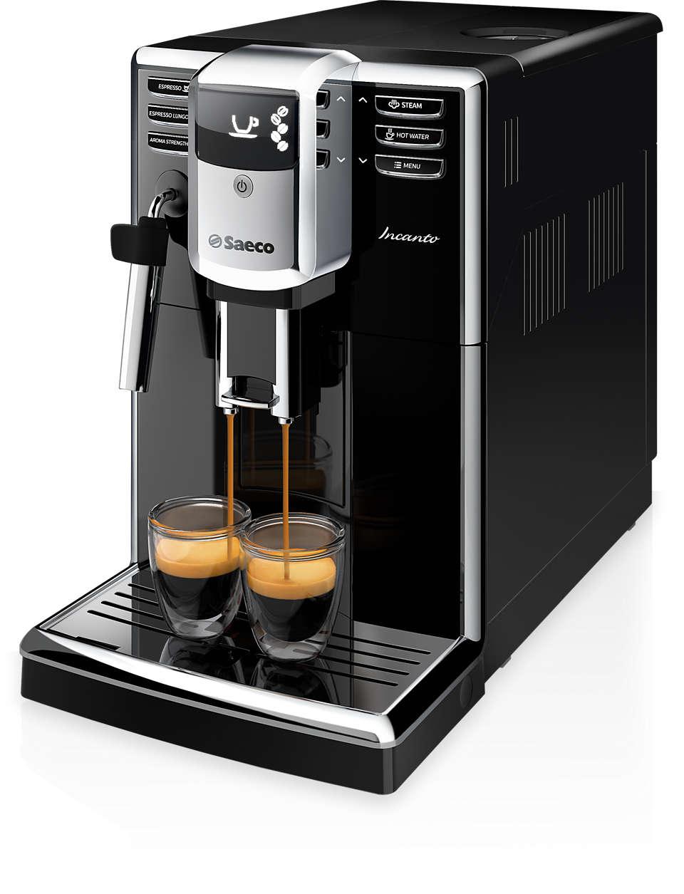 Diseño elegante. Calidad del café impresionante.