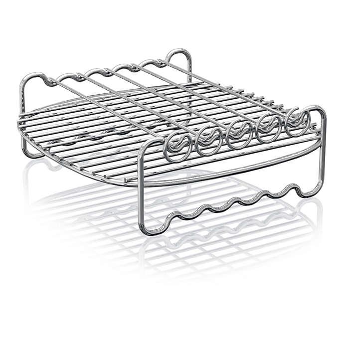 Utöka tillagningsytan för din Airfryer med dubbelt grillställ