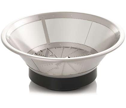 Presst den Saft aus der Frucht oder dem Gemüse