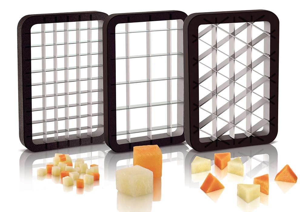 Различные размеры и формы нарезки ингредиентов для салата оливье