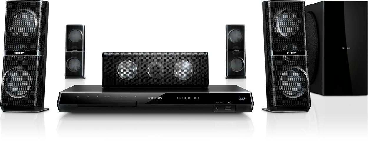 Ciesz się potężnym dźwiękiem kinowym dzięki głośnikom kątowym 3D